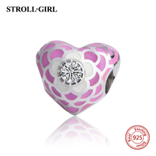 Fit Original Pandora Bracelet Pendant Authentic High Polishing 925 Sterling Silver Heart Pink Enamle Beads Charm Jewelry Gifts