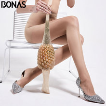 BONAS 12D Tights Women Plus Size Pantyhose Nylon Thin Sexy Panty Collant Femme Solid Spandex Female Stockings