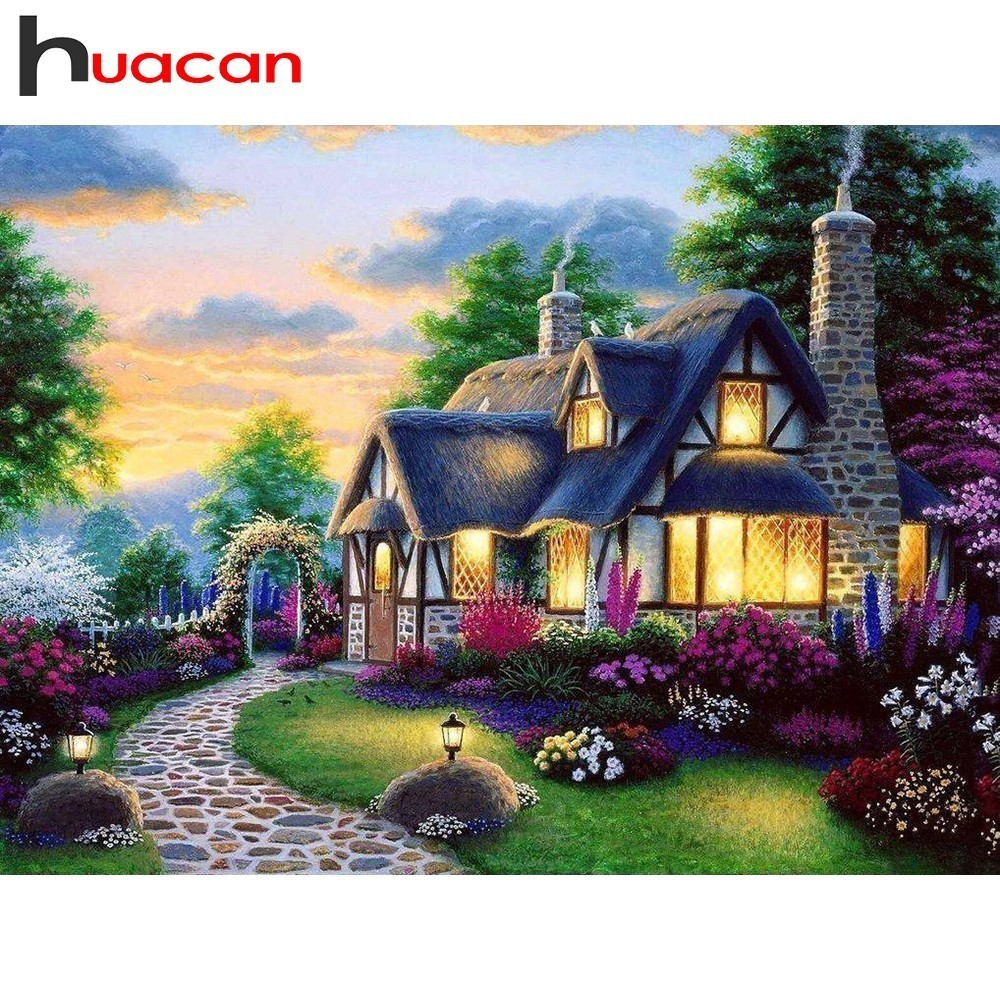 Huacan Diamond Embroidery House Paintings From Crystals Diamond Painting Farm Full Square Rhinestones Diamond Mosaic Landscape in Diamond Painting Cross Stitch from Home Garden