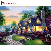 Huacan Diamond Embroidery House Paintings From Crystals Painting Farm Full Square Rhinestones Mosaic Landscape