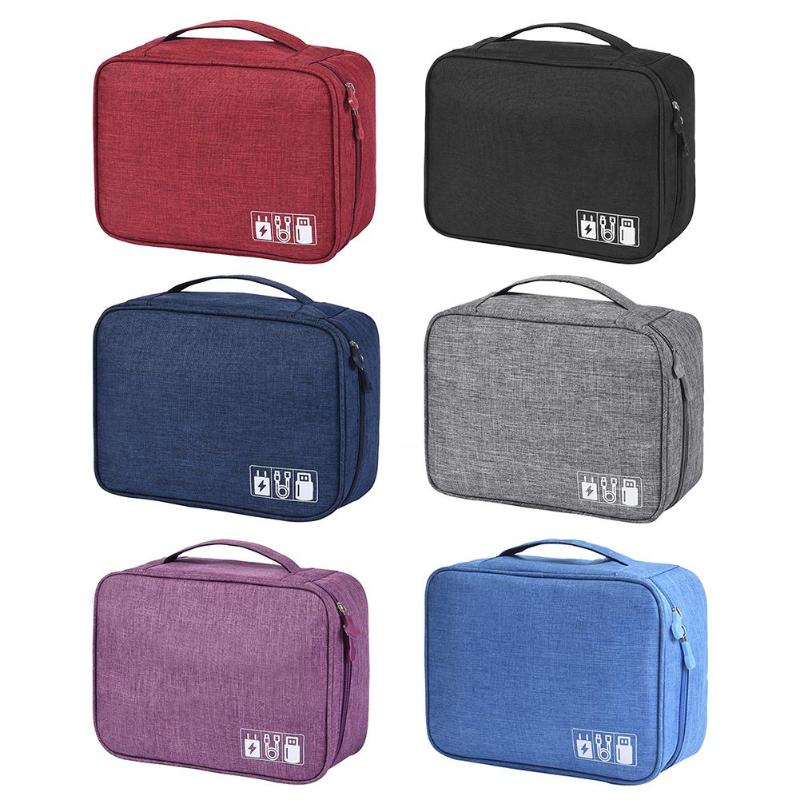 Travel Cable Bag Portable Digital USB Gadget Organizer Charger Wires Cosmetic Zipper Storage Pouch Kit Case Bags