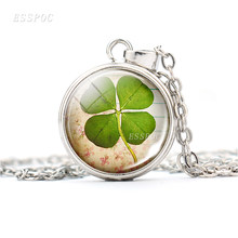 2019 Fashion Crystal Glass Clover Necklace Shamrock Charm Silver Chain Pendant Necklace Women Lucky Wish Locket Jewelry Gifts(China)
