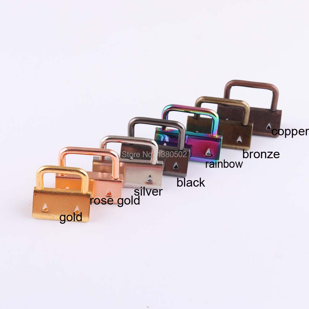 100pcs 25mm 1inch Rainbow rose gold gold black bronze copper silver color Metal Key Fob Hardware