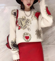 2018 Winter High Quality Love Embroidery Women Knitted Sweater Pullovers Runway Designer Ladies Christmas Jumper Clothing