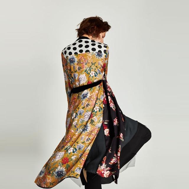 Flower Print Kimono Boho Long Loose Casual Robe with Belt 4