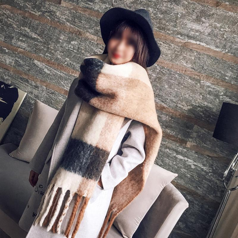 Cashmere-like New Fashion Long Scarf Shawl Female Autumn Winter New Color Mixed Wild Warm Thick Fringed Scarf Mingjiebihuo Korea
