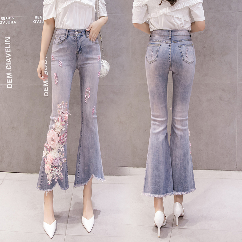 2019 spring women's Beaded and diamond flower sequins embroidery nine minutes jeans female Broken hole Retro jeans