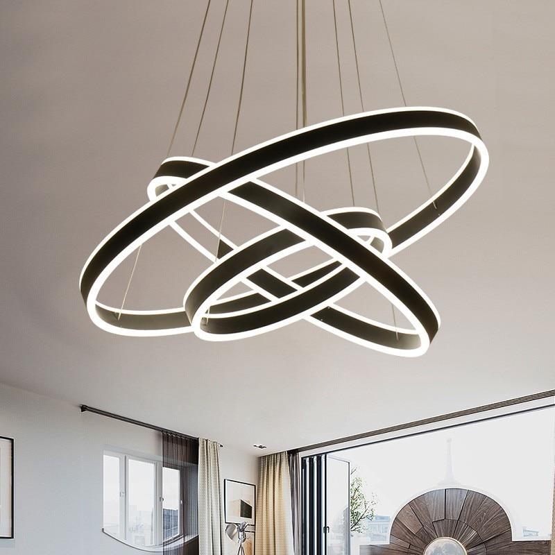 Rings LED Modern Pendant Lights Fixture For Dining Room Hanging Lamp Home Restaurant Decor Suspension Bedroom Luminaire Lustre