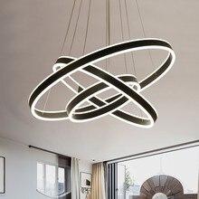 Yüzük LED Modern kolye ışıkları fikstür yemek odası için asılı lamba ev restoran dekor süspansiyon yatak odası armatür parlaklık