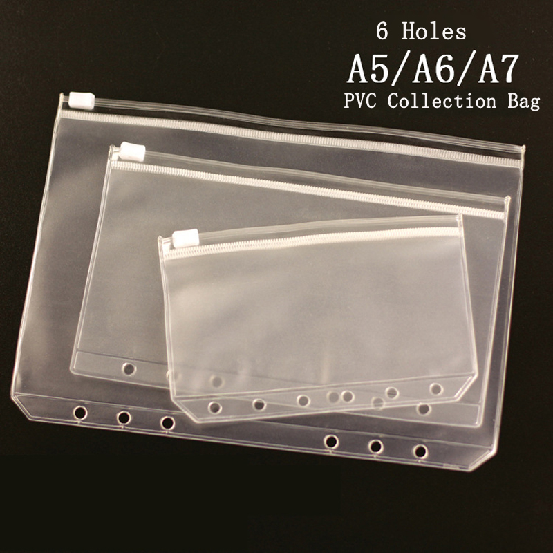 EZONE A5/A6/A7 Loose Leaf File Organizer PVC Clip File Notebook PVC Collection Bag Bill Business Card File Storage Bag Zipper