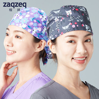Unisex Adjustable Surgical Hat Scrub Cap with Sweatband for Ponytail and Free Reusable cap, One Size Fit Most
