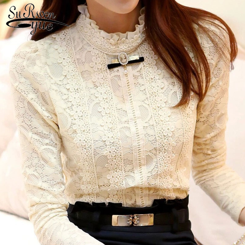 2018 New Hot Women Tops Women Clothing  Fashion Blusas Femininas Blouses & Shirts Fleece Women Crochet Blouse Lace Shirt 999