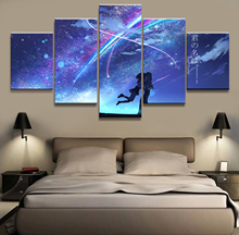 Home Decor Canvas 5 Panels Anime Couple Pictures YOUR NAME Cartoon Movie Piece Poster Picture Wall Decoration Painting Wholesale