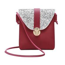 Women PU Leather Handbag Small Bling Sequin Shoulder Messenger Bags And Purse Lady Mini Cute Crossbody Evening Clutch Bag(China)