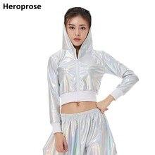 Heroprose женский флуоресцентный белый хип-хоп ультра-короткие топы Сексуальная Танцевальная Джаз сценическая одежда с капюшоном с длинным рукавом Куртка