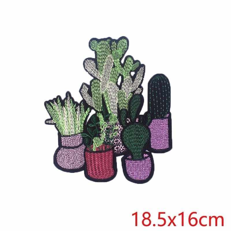 Prajna kaktüs çiçekler Sticker DIY işlemeli büyük boy bitkiler yamalar kumaş dikiş ütü giysi aksesuarı yeşil kırmızı H