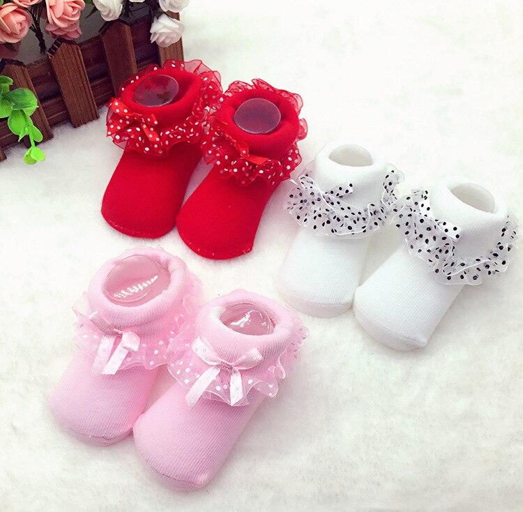 UK Cute Baby Girls Mesh Dot Tutu Socks Lace Newborn Infant Frilly Sock Soft Cotton Short Socks