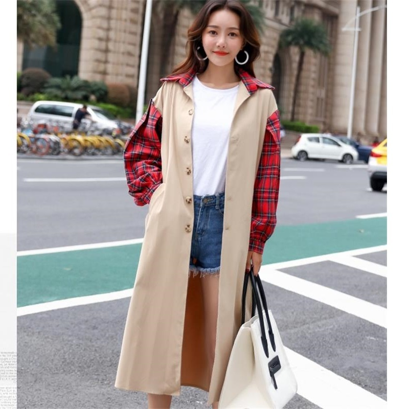 Fashion Trench Coat Women Patchwork Plaid Check Windbreaker Elegant Slim Long Coats Casual Spring Autumn Outwear Korean Clothes