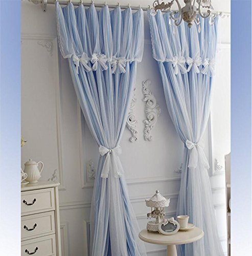 WINLIFE Korean Ruffle Lace Curtains for Girls Room Fairy Window Treatments 2-PanelWINLIFE Korean Ruffle Lace Curtains for Girls Room Fairy Window Treatments 2-Panel