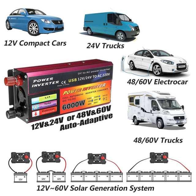 Solar Inverter 12V 220V 6000W Peak Voltage Converter Transformer DC 12V&24V 48V&60V To AC 110V/220V Auto Adapt Inversor 2