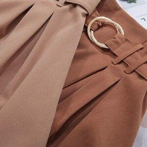 Image 3 - PEONFLY jupe longue mi longue pour femme, jupe élégante automne hiver, velours, coréen, jupe plissée, taille haute, ligne a, 2019