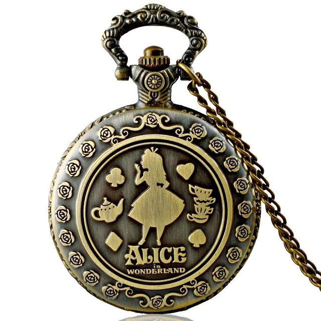 IBEINA Alice in Wonderland Theme Full Hunter Quartz Engraved Fob Retro Pendant P