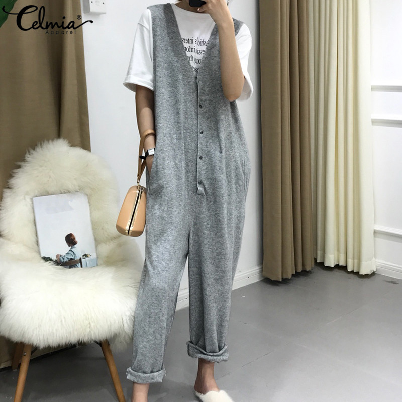 Celmia Plus Size Overalls New Spring Vintage Knit   Jumpsuit   Women Sleeveless Button Down Harem Pants Casual Loose Sexy Rompers OL