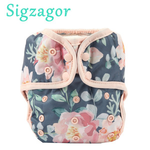 [Sigzagor]2020 NEW One Size Baby Cloth Diaper Cover Nappy Double Gusset 4-13kg 45 Designs(China)