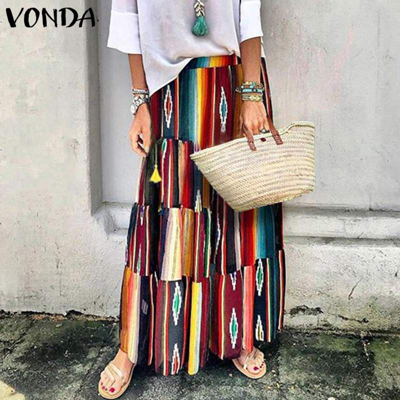 New Arrival Women Skirts 2019 VONDA Summer Sexy Vintage Printed Long Skirts Casual Loose Femme Layered Skirt Plus Size