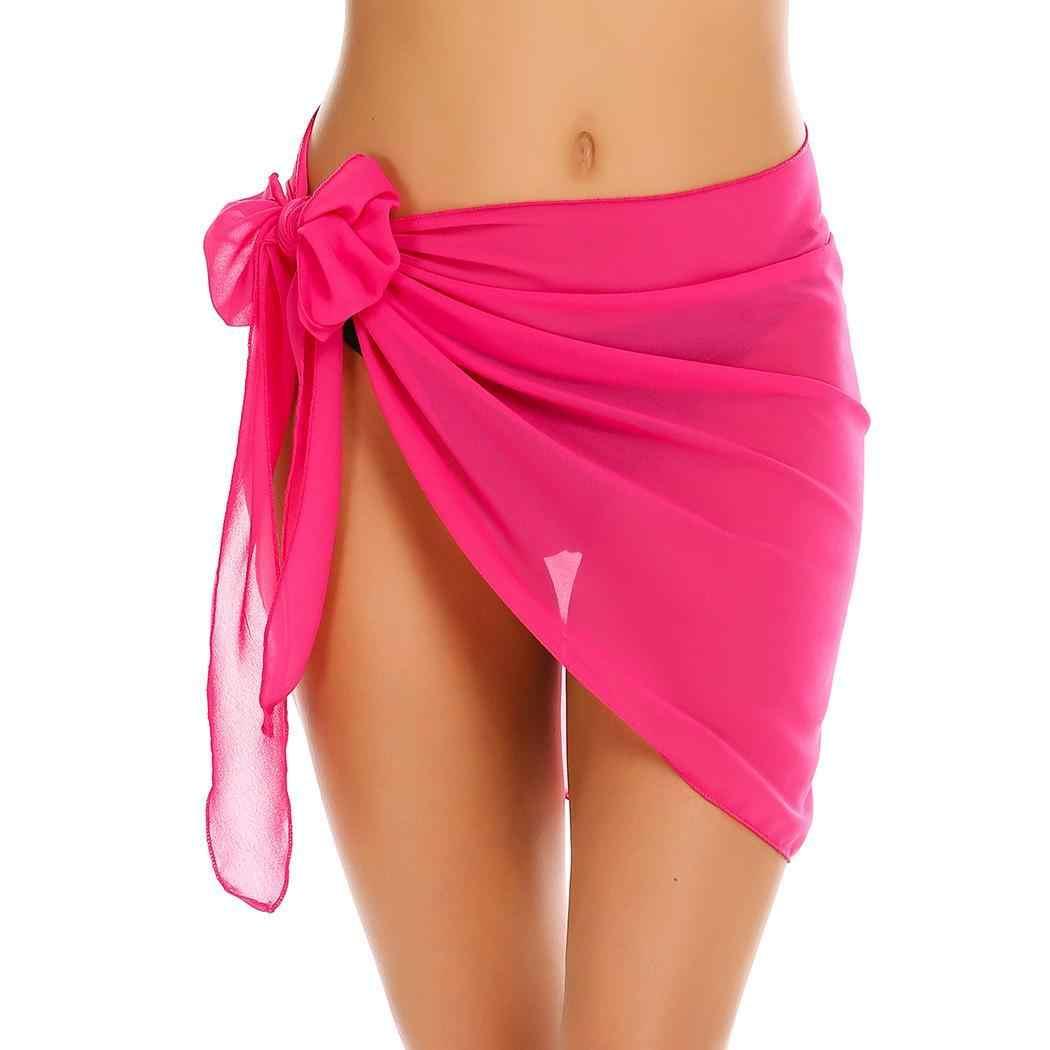 ed4bc6b14ae54 up Summer Sarong Women Short Woman Swimsuit Chiffon Wrap Beach Wrap For  XXXL Cover Beachwear Swimwear