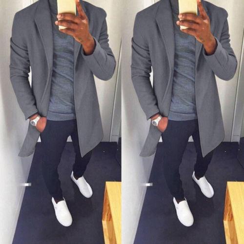 2019 Autumn Winter Men Casual Coat Thicken Woolen Trench Coat Business Male Solid Classic Overcoat Medium Long Jackets Tops 1