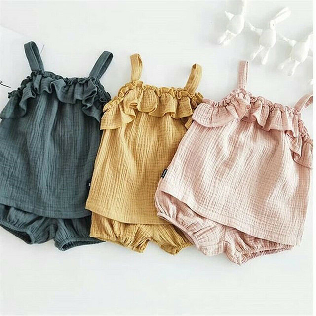Kids Girls Clothing Sets Summer New Style Baby Girls Sleeveless Sling Vest Tops +Shorts 2Pcs Children Cotton Linen Clothes Suits