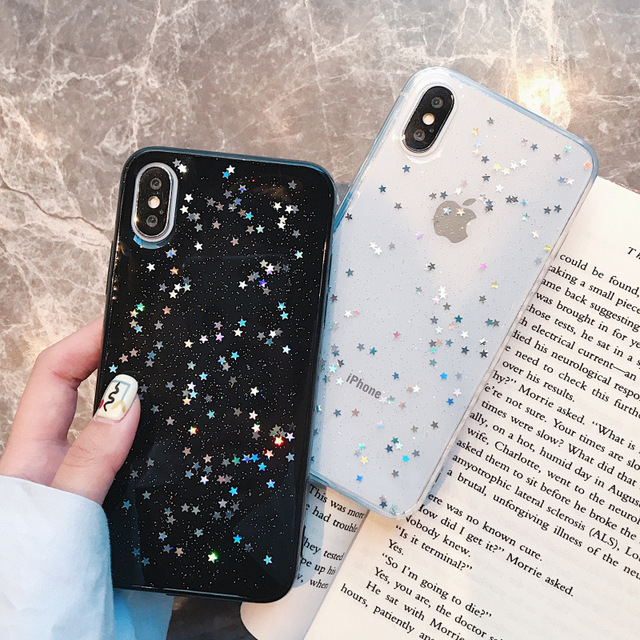 new concept 7f552 e395b US $1.45 27% OFF|Luxury Bling Glitter Star Case for iPhone X Case For  iPhone 8 7 6 6S Plus X XS Max XR Back Cover Love Heart Soft TPU Silicone  -in ...