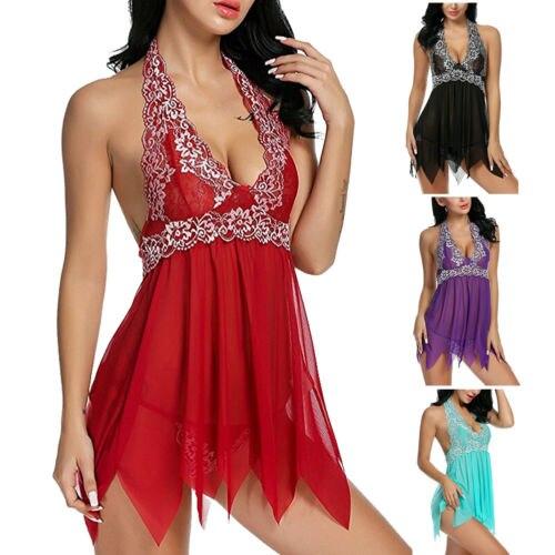 Women Sexy-Lingerie Nightwear Sleepwear Dress Babydoll Lace G-String Underwear
