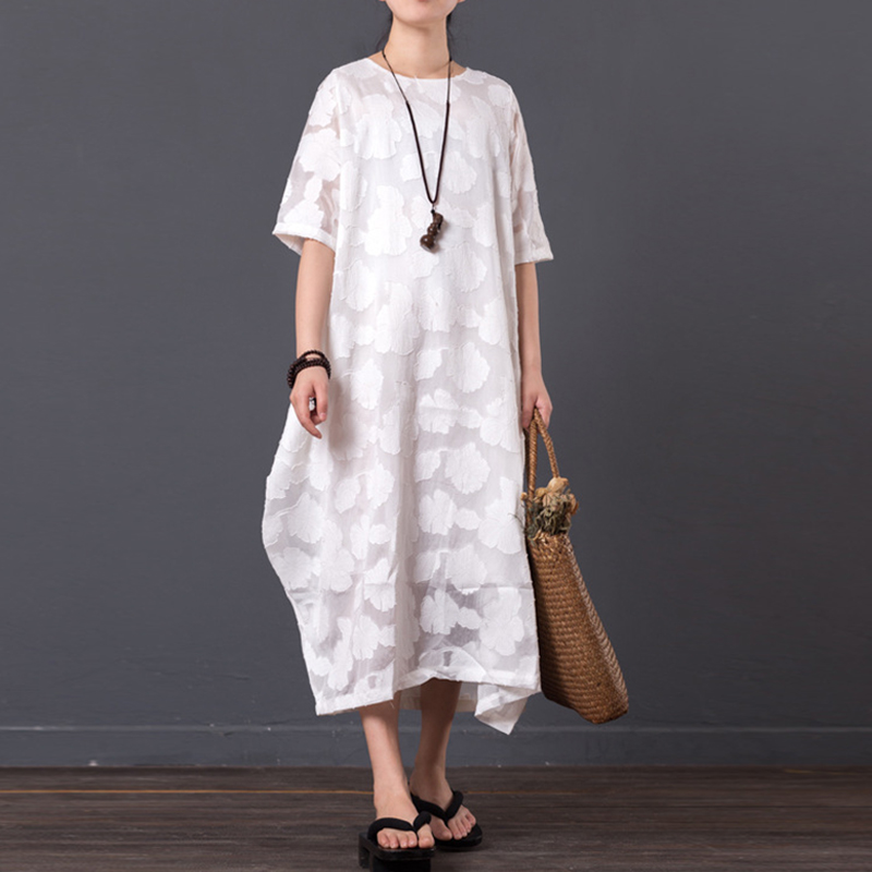 Retro Dress Women Summer Casual Half Sleeve Round Neck Loose Plus Size Maternity Maxi Long Dress Female Long Vestidos S-5XL 2019