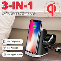 3 IN 1 Qi Wireless Charger Pad for Airpod for Apple Watch 2/3/4 Fast Charging Dock Station For iphone XR XS X 8 for Samsung S10E