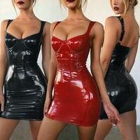 Женские Коктейльные Вечерние платья из искусственной кожи ПВХ, облегающее клубное мини-платье Pencli
