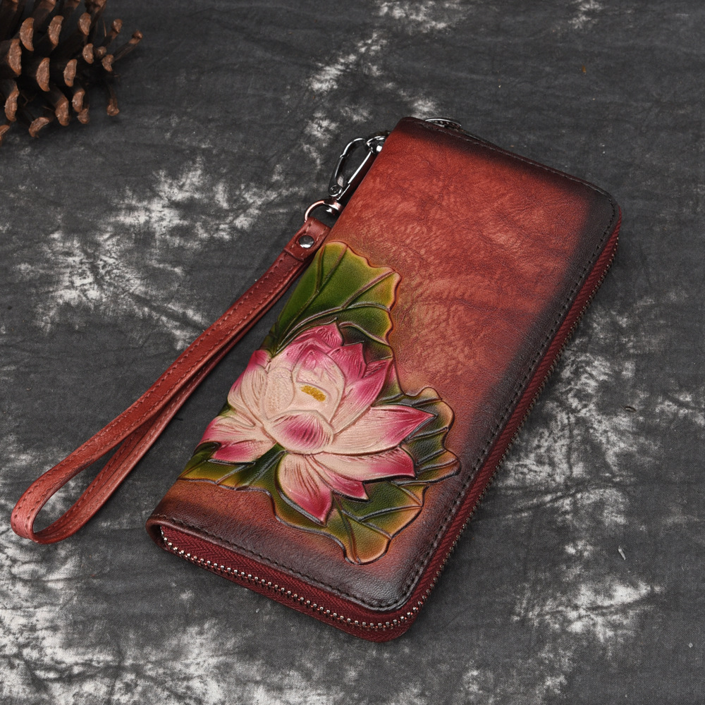Natural Skin Long Purse Clutch Money Bag Coin Pocket Lotus Pattern Multi-Cards Holder Clip Women Genuine Leather Bifold Wallet