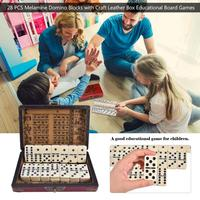 High Quality 28 PCS Melamine Domino Blocks With Craft Leather Box Educational Board Games Mahjong Entertainment Supplies