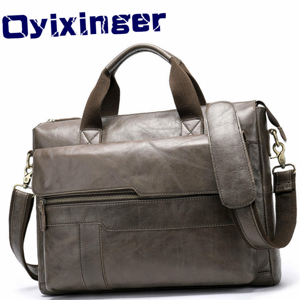 Mens Briefcase 14 Inch Computer Bag For Huawei Matebook X Man Genuine Cow Leather Handbag Male Business Bags For Dell Laptop Tas