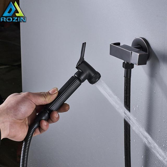 Black Bidet Faucet Wall Mounted Cold Water Faucet Single Handle Brass Bidet Sprayer Head Single Hole Valve 150cm Shower Hose