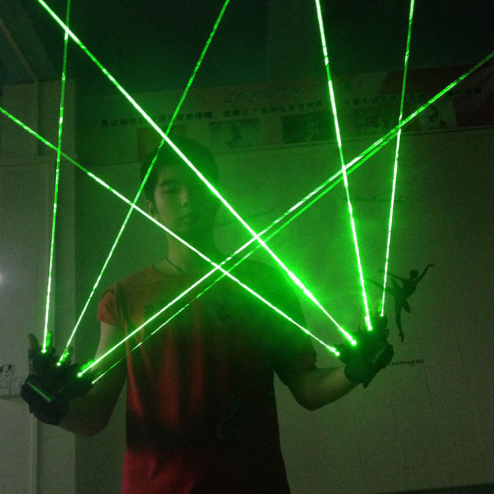 1Pcs Green Laser Gloves Dancing Stage Show Light With 1/2/3/4/5 Pcs Lasers LED Light For DJ Club/Party/Bars
