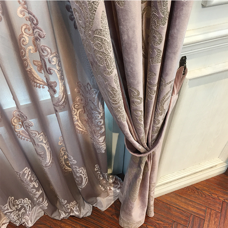 High-end Velvet Gilded Curtains for Living Dining Room Bedroom  Blackout Curtains(China)