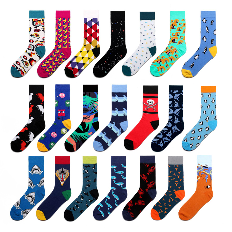 Men Socks Happy Funny Cute Cartoon Animal Shark Monsters Geometry Black Street Harajuku Hip Hop Skate Fashion Cotton Sock Autumn