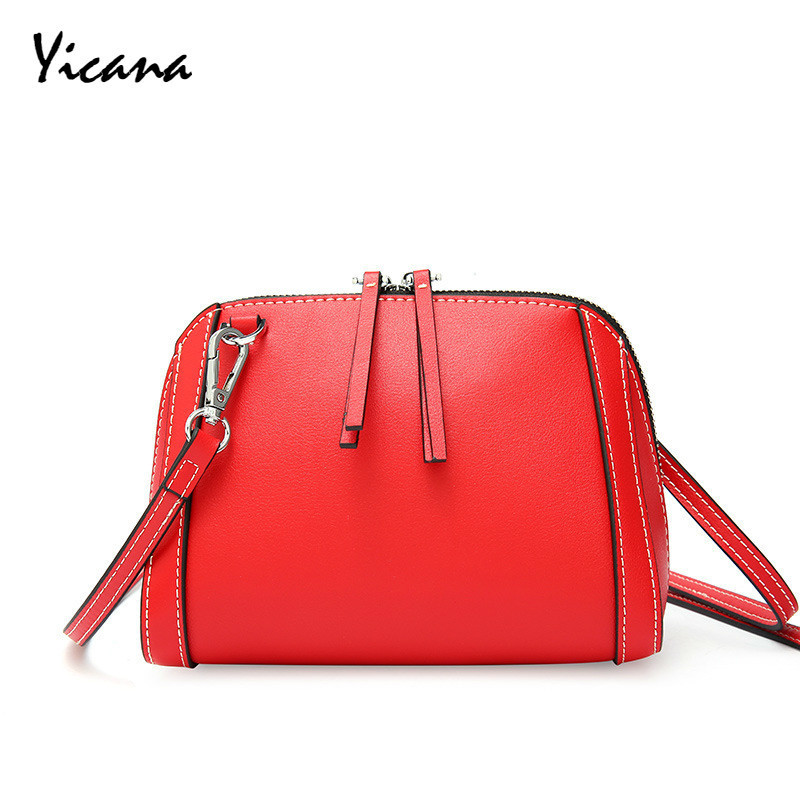 Yicana 2018  Summer Cow Leather Women handbag Both Zipper  Fashion Shoulder Oblique Satchel Shell bagsYicana 2018  Summer Cow Leather Women handbag Both Zipper  Fashion Shoulder Oblique Satchel Shell bags