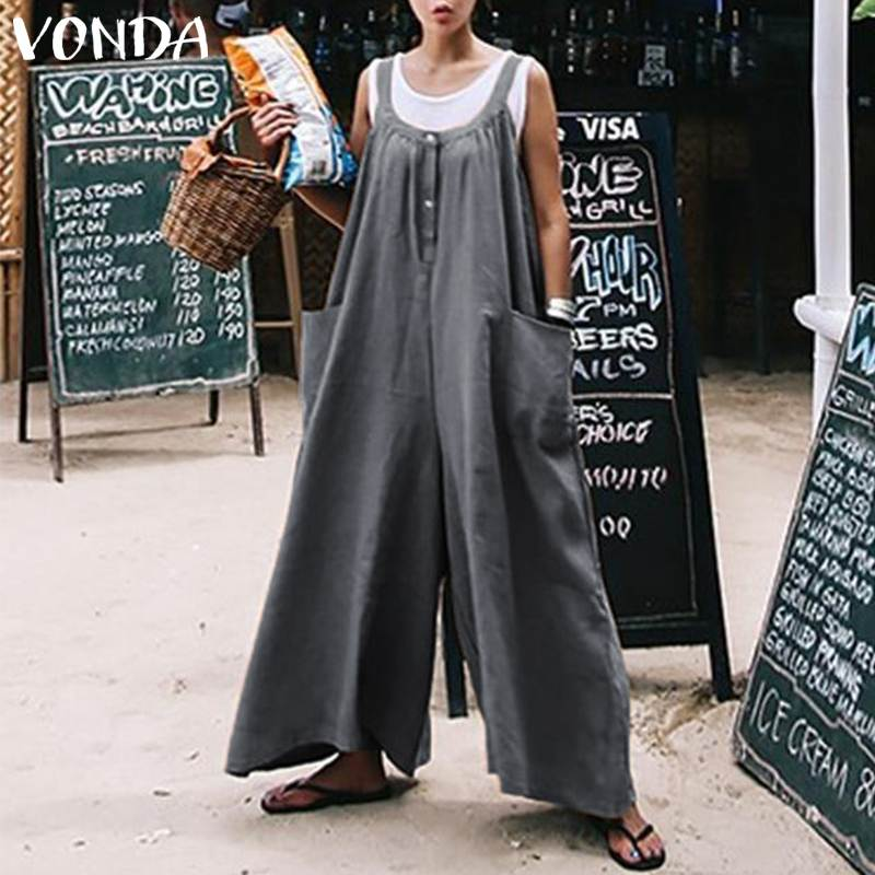 VONDA Rompers Women Jumpsuits 2019 Summer Sexy Wide Leg Pants Casual Loose O Neck Pockets Sleeveless Plus Size Playsuit Overall