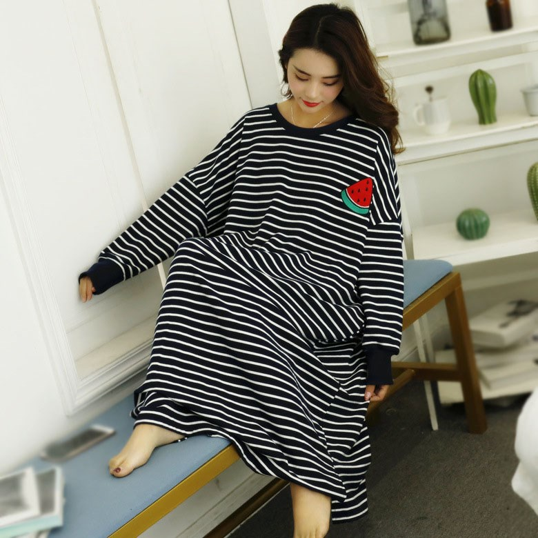 Plus Size Spring Autumn Women Nightdress Round Neck Long Sleeve Nightshirt Home Dress Loose Striped   Nightgowns