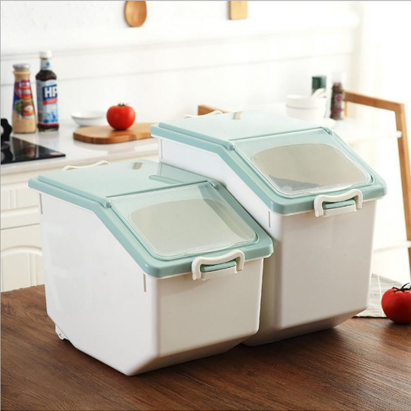 Thick Plastic Rice Bucket Storage Box Cereal Flour Rice Grain Home Bin Kitchen Seal Moisture Proof Dried Food Container image