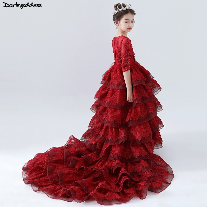 2019 Luxury Long Sleeve   Flower     Girl     Dresses   for Weddings Ball Gown Burgundy Long Train Pageant   Dress   for   Girls   Evening Gowns