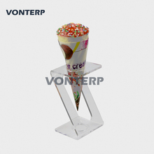 HMROVOOM 1 Holes Acrylic Ice Cream Cone Holder Stand